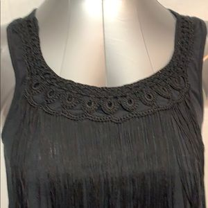 High low tank with fringe detail